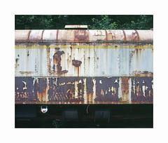 gare Hombourg (ha*voc) Tags: mamiya7ii 80mm rangefinder film 220 mediumformat 6x7 fujiprovia100 urban urbanentropy industrialdecay rusty textures belgium hombourg station trains silence abstraction
