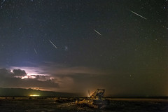 Perseids, Lightning, and an Abandoned Crane at Bombay Beach (slworking2) Tags: niland california unitedstates us perseid perseids meteor astronomy saltonsea bombaybeach night longexposure
