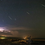Perseids, Lightning, and an Abandoned Crane at Bombay Beach thumbnail