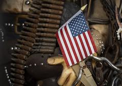 Shooting Blanks (The Barrel Steward) Tags: americanflag merica redwhiteblue brass flag junk antique belt mannequin color louisville kentucky jeffersoncounty frankfortave nikon d810 70200