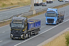SV67 JKO YK17 OAZ (panmanstan) Tags: mercedes actros mp4 volvo fh wagon truck lorry commercial freight transport haulage vehicle a1m fairburn yorkshire