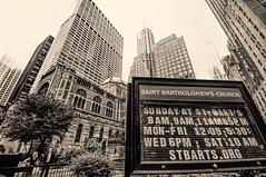 St. Bart's (nyperson) Tags: newyorkcity blackandwhite church sign stbartholomews