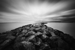 Wave Breaker #2 (Fine Art Long Exposure Black & White Photography) Tags: fineart longexposure blackandwhite monochrome wavebreaker coastline rhosonsea northwales unitedkingdom sea seascape nature water