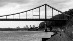 Fisherman (H. Taras) Tags: gtaras black blackwhite bridge river kyiv kiev d70 dniper fisherman sky