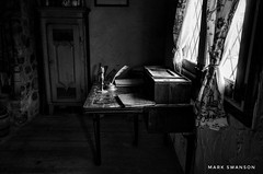 Commanding Officer's Desk (mswan777) Tags: 1020mm sigma d5100 nikon ansel white black monochrome light travel history michigan mackinaw michilamackinac fort army pen candle box blind window indoor home office desk