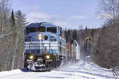 Chilling on the Moosehead (Thomas Coulombe) Tags: centralmainequebec cmq job1 emdsd402f gmdsd402f sd402f freighttrain train searchlights signals demoroad maine mooseheadsub