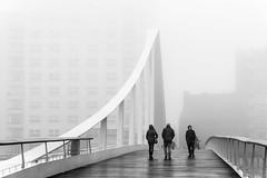 On the bridge (Liège - Belgium) (André Servaty) Tags: liège concours tirages brouillard lieux genre passerelle wallonie belgique be