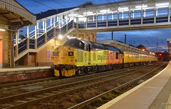 Colas Loco 37099 at Ipswich, with the Network Rail Track Geometry Train, working from Cambridge to March, via Kings Lynn, Ely & Norwich. 17 08 2018 (pnb511) Tags: electric overhead cable ohc catenary traction loco locomotive diesel trains railway ipswich greateasternmainline geml colas rail freight class37 track station platform canopy footbridge
