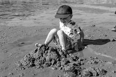 Arthur on the beach (timnutt) Tags: 35f2wr 35mm fujifilm sea acros wales llyn beach ocean monochrome lleyn child mono fuji bw xt2 family blackandwhite children holiday