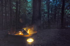 Friday Night Campfire, 2018.06.22 (Aaron Glenn Campbell) Tags: frozenhead statepark naturalarea wartburg morgancounty tn tennessee outdoors optoutside wooded campsite silhouette trees leaves foliage lowlight noise grain smoke campfire ±2ev hdr 3xp macphun aurorahdr2017 nikcollection analogefexpro viveza sony a6000 ilce6000 mirrorless rokinon 12mmf2ncscs wideangle primelens manualfocus emount