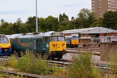 Variety at Leicester. (Chris Baines) Tags: 50008 thunderer leicester depot east midlands meridian class 47 rog 37 europhenix