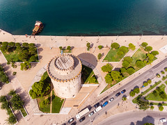 Luftbild des Weißen Turms in Thessaloniki (marcoverch) Tags: afytos chalkidiki digitalnomad dji greek urlaub luftbildaufnahme kassandra travel luftaufnahme aerial aerialphotography mavicair griechenland thessaloniki decentralizedadministrationof decentralizedadministrationofmacedoniaandthrace gr reise water wasser sea meer nature natur noperson keineperson vacation ferien city stadt architecture diearchitektur summer sommer landscape landschaft sky himmel seashore strand island insel tourism tourismus beach tree baum luxury luxus outdoors drausen sight sicht town dorf children stars lego boeing spring flickr fly deutschland hiking mist luftbild weiserturm