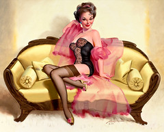 Brunette on Loveseat, 1997 by Donald Rust (gameraboy) Tags: donaldrust pinup pinupart illustration art vintage woman sexy brunetteonloveseat 1997 1990s lingerie stockings thighhighs nylons boobs