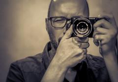 The View through the lens - Self Portrait (Herr Nergal) Tags: alpha6000 sony alpha selfportrait portrait monochrome myself saarland person mirror sigma30mm28 exdn spiegel selbstportrait closeup ilce6000