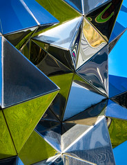 Try All Angles (Steve Taylor (Photography)) Tags: triangles art sculpture metal chrome newzealand nz southisland canterbury christchurch distorted reflection shiny