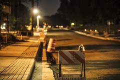 Road construction on Woodhill Road (Mercenaryhawk) Tags: road construction woodhill minnetonka minnesota glen lake dirt sign street night long exposure nigtitime dark canon eos 5ds 5dsr 85mm 18 50mm 14 usm trees streetlights bokeh