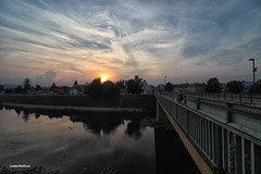 Banijski most (malioli) Tags: bridge sun sunset dusksundown sky clouds river water urban street people canon steel walkingpath croatia hrvatska karlovac europe