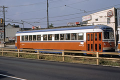 US PA Philadelphia SEPTA-PSTC Red Arrow 8 10-1982 (David Pirmann) Tags: pa pennsylvania philadelphia septa redarrow pstc philadelphiasuburbantransco interurban train trolley tram transit railroad