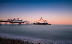 The Longest Day (Lloyd Austin) Tags: nikon d7200 zomei 10stop nd filter cablerelease sigma1750mm solstice summer tranquil calm still sky reflecting golden light sunset seascape sea pebbles beach longexposure pier colour thelongestday eastbourne england unitedkingdom gb