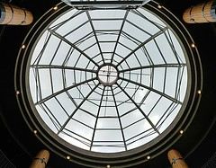 The Atrium at Lonsdale Quay Market (walneylad) Tags: lonsdalequaymarket northvancouver britishcolumbia canada publicmarket glass dome atrium sky art decoration architecture inside view round circular lights dark light