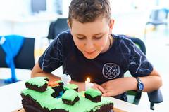 Jethro Turns Twelve 13 (C & R Driver-Burgess) Tags: boy birthday cake minecraft preteen children class girls teacher friends family knife sit cut candles lit blow love