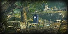TARDIS Series - Parasite Gods Blaze (Loegan Magic) Tags: secondlife elysion doctorwho tardis dalek tractor lake trees grass woods bridge dock