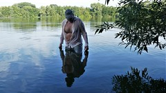 waterhiking (marcostetter) Tags: landscape lake levis wetlook wet wetclothing wetclothes wetjeans wetshirt water wetpants walking hunk hiking hairychest hairybody jeans bluejeans body