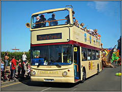 17528, Margate Carnival (Jason 87030) Tags: 17528 lx51fom margate carnival festival parade people ballons cheer color colour man women hat persond opentop doubledecker topless dennis trident converted southeast eastkent thanet holiday august 2018 street bus wheels celebration sunny aummer uk england fun