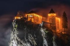 0805 High Castle III (Hrvoje Simich - gaZZda) Tags: landscape outdoors noperson cliff rock building castle tree sky fog mist lights travel night dark bled slovenia europe nikon nikond750 nikkor283003556 gazzda hrvojesimich