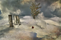 The garden of Eden (Milla DelRay) Tags: sl secondlife nature fantasy landscape skyscape clouds peacock tree appletree apple columns pillars sky texturized eden garden duet