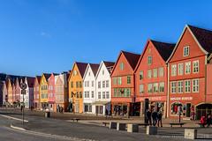 Bergen - Bryggen revisited (JnHkstr) Tags: 2018 bergenstad noorwegen norway bryggen sky nikon bluesky wooden houses