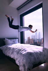 """(""""What's in the box?!"""") Tags: selfportrait levitation floating photoshop city skyline bedroom archtiecture portrait portraits surrael surrealism light window photographer photography iphone iphoneography iphonex"""