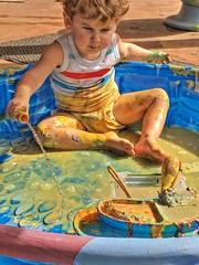 1 summer grandchild: yellow paint (Jen's Photography) Tags: painter blue gold yellow paint pool mess play creative art color hose water hdr highdynamicrange qtpfsgui child jensphotography austintexas austin texas city urban centraltexas atx capitol austintexascapitol capitoloftexas texascapitol austinphotography austintexasphotography portrait grandchild family male boy grandson august summer 2018 outside outdoors iphone cellphone iphone6s