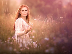 Floral ({jessica drossin}) Tags: jessicadrossin portrait flowers field flare woman nature orange warm light redhair dress