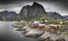 Hamnoy on a cloudy day (Ela Dzimitko) Tags: norway hamnoy reine red architecture lofoten clouds weather rain wind longexposure lee leefilters nd1000 canon5dmk4 canon1635f4 eladzimitko stunningoutdoors sea water mountains mountain hill rock grey gray