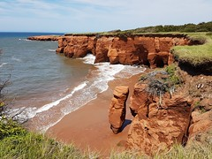 Day 3 - The cliffs at Les Caps on Cap Aux Meules Island viewed from the hiking trail (Bobcatnorth) Tags: lesilesdelamadeleine magdalenislands quebec canada summer 2018 cycling velo bicycle bicycling cycletouring bicycletouring touring tourdevelo gulfofstlawrence
