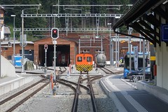 RhB Arosa - Depot and Loading (Kecko) Tags: 2018 kecko swiss switzerland schweiz suisse svizzera graubünden graubuenden gr arosa europe railway railroad bahn eisenbahn rhb rhätischebahn viafierretica rhaetianrailway arosabahn depot rangierlok shunter bahnhof station swissphoto geotagged geo:lat=46784630 geo:lon=9679410