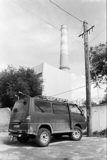 van by exhaust tower, Almaty