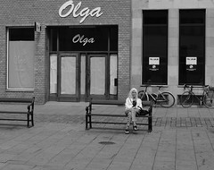 Waiting (BicycleTripPist) Tags: alone street single waiting woman