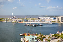 Positioning the drone ship (alloyjared) Tags: spacex falcon9 portcanaveral merahputih spacecoast florida jettypark helicopter aerialphotography floridaairtours