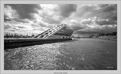 Hamburg analog: Dockland (Dierk Topp) Tags: bw brooksplaubelveriwide100 berggerpancro400 hh plaubel superangulon847mm veriwide analog architecture clouds dockland hamburg monochrom sw