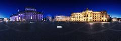 Bebelplatz Berlin - Panorama (FH | Photography) Tags: berlin deutschland panorama pano blauestunde staatsoper mitte wahrzeichen denkmal humboldtuniversität hotel historisch kirche skyline abends europa bebelplatz sehenswürdigkeit architektur gebäude juristischefakultät sthedwigskathedrale de rome himmel pflastersteine menschenleer unter den linden zur erinnerung an die bücherverbrennung mahnmal tiefgarage platz oper opernhaus