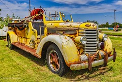 The Old Pumper (Kool Cats Photography over 10 Million Views) Tags: firetruck pumper yellow abandoned classic oklahoma shawnee clouds landscape vintage vehicle truck