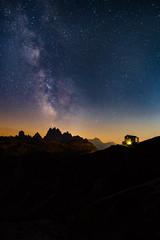 A Place Amongst the Stars (Jim.J.H) Tags: italy2018 dolomites milkyway mountainhut night sky stars peaks mountainpeaks topoftheworld