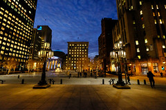 Place d'Armes in Montreal, Canada (` Toshio ') Tags: toshio montreal canada quebec placedarmes square night notredamebasilica evening clouds oldmontreal canadian building city cityscape fujixt2 xt2 people bank streetlight street road statue