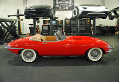 E-Type Jaguar. Elegance personified. (Infinity & Beyond Photography: Kev Cook) Tags: etype jaguar classic sports car cars exotics whitewall tires tyres auto shop garage photos