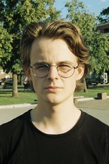 self portrait (angry burger guy) Tags: portrait student man 35mm kodak colorplus nikon summer