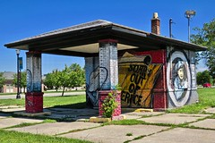 Old Standard Oil Station, Saginaw, MI (Robby Virus) Tags: saginaw michigan mi oil gas gasoline service filling station abandoned old derelict graffiti street art standard mural eric schantz