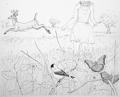 Startled (Alex Hiam) Tags: pen ink sketch drawing illustration series deer wildflower grass meadow marsh marigold goldfinch landscape girl child sky tree bird spring nature
