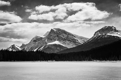 Waterfowl Lakes (petemenzies.com) Tags: waterfowl lakes frozen winter rockies mountains canada travel icefields parkway ice snow monochrome blackandwhite bw bnw drama landscape scenery nature clouds